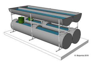 Biogarden 10' Dual - Hydroponics System/Aquaponics System Sketch